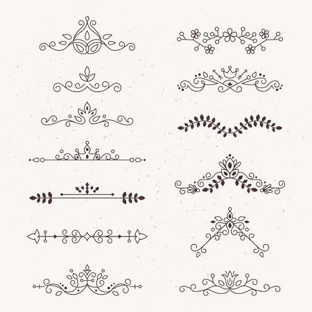 calligraphic design: Set of calligraphic design elements