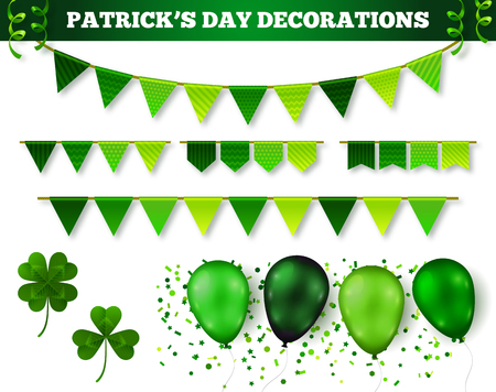 four leaf clovers: Saint Patricks Day 3D Decorations Set Isolated on White. Vector Illustration. Flag Garlands, Balloons in Traditional Colors, Confetti and Serpentine. Three leaf and four leaf clovers.