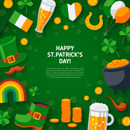 Happy St. Patricks Day Green Background with Flat Irish Icons. Vector illustration. Ireland concept symbols. Four Leaves Clover, Leprechaun Hat, Pot of Gold, Rainbow, Horseshoe. Illustration