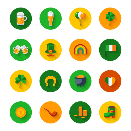 paddys: Set Of St. Patricks Day Flat Icons in Circles Illustration
