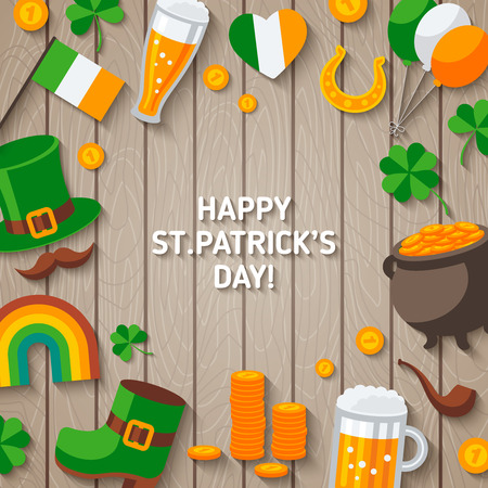 cloverleaf: Patrick Day Wooden Background with Irish Icons.