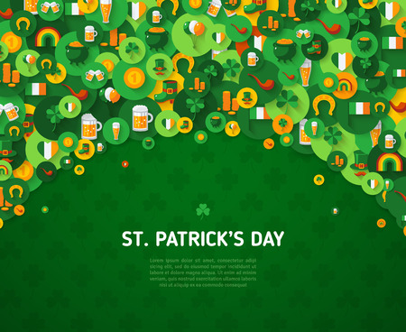St. Patricks Day Background with Circle Flat Icons