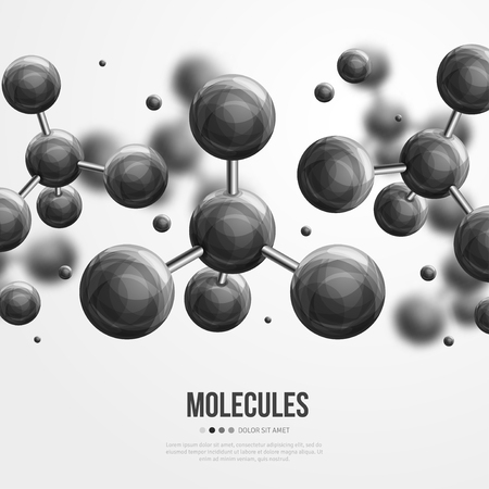 contaminant: Molecular structure with black spherical particles