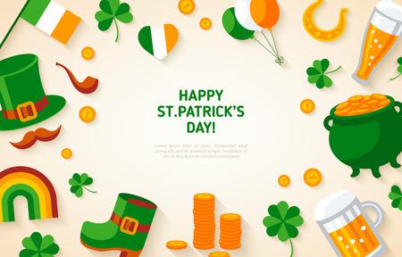 saint paddys day: Patrick Day Background with Irish Flat Icons