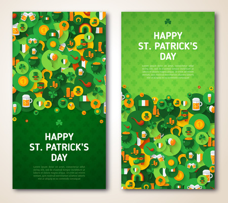 Patricks Day Greeting Cards with Circle Icons