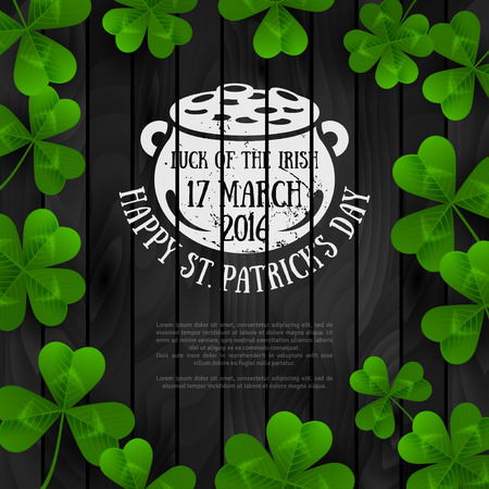 Patricks Day Banner with Clovers on Black Wood
