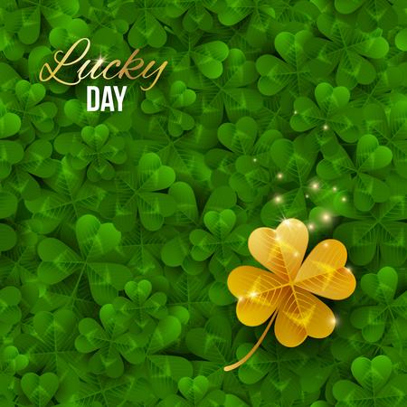 Gold shiny four leaf clover on green clover field. Illustration