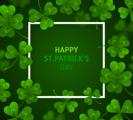 Patricks Day with Clovers on Green Background
