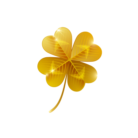 Gold shiny four leaf clover isolated on white