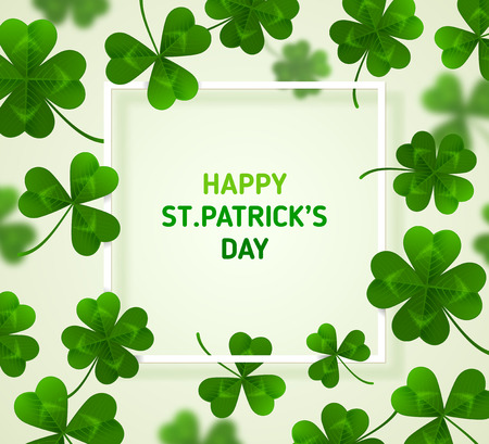 Patricks Day with Clovers on White Background