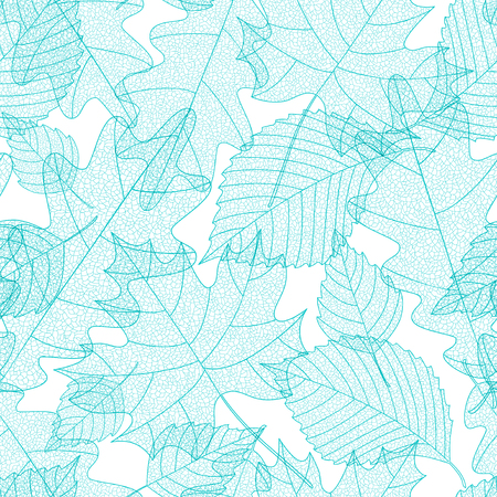 Seamless pattern with macro leaves skeletons Illustration