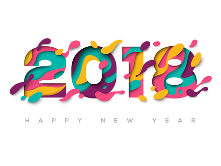 2018 greeting card with abstract paper cut shapes 向量圖像