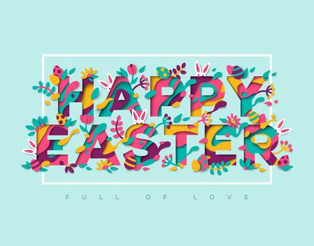 Diseño de tipografía de corte de papel de Pascua con marco Foto de archivo - 75202487