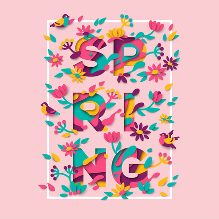 Spring typography design with square frame
