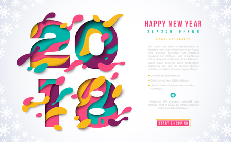 2018 Happy New Year banner template 向量圖像