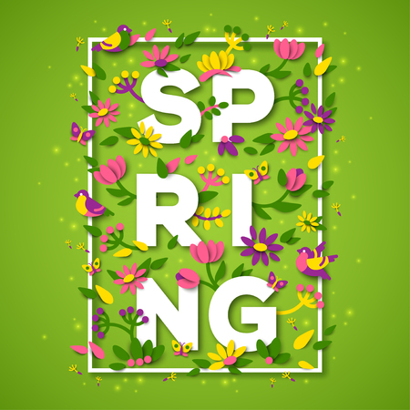 Spring typography design with white paper cut text