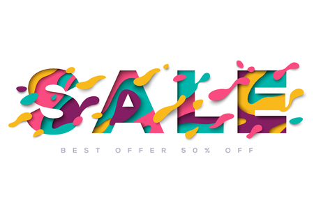 Sale typography design with abstract shapes Illustration