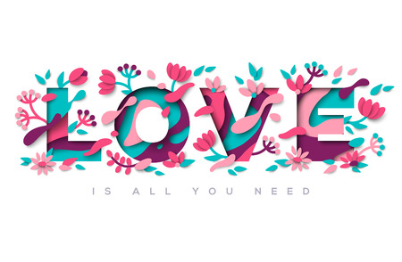Love typography with abstract leaves and flowers Illustration