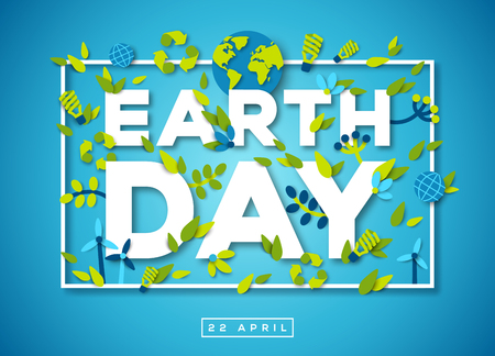 Earth day typography design on blue background