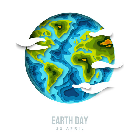 recycle logo: Earth planet with clouds, 3d paper cut design