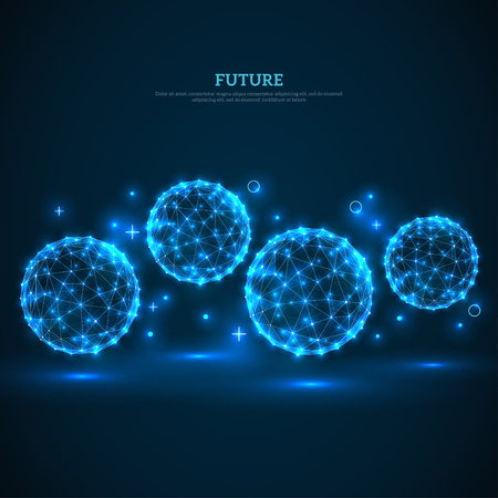 Abstract glowing particles on dark blue background