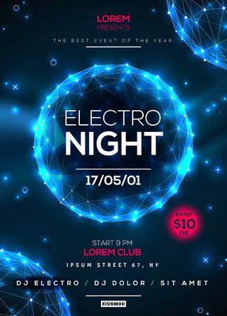 Electro nacht partij poster sjabloon