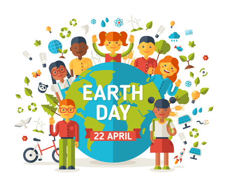 Boys and girls with Earth Illustration
