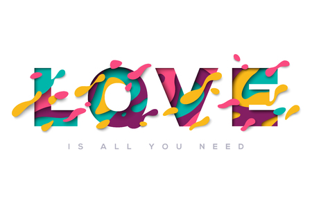 Love typography design with abstract shapes Illustration
