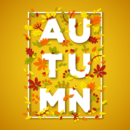 scraps: Autumn typography design with white paper cut text