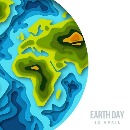 Planeta de la tierra, bandera del papel 3d cortado