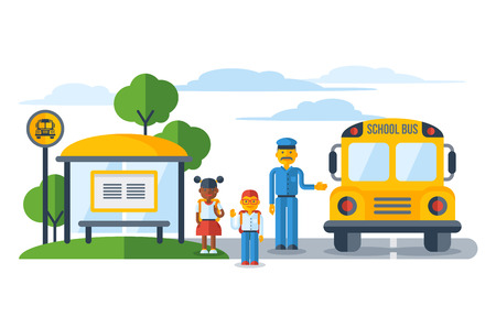 Schoolers getting on yellow schoolbus at bus stop Illustration