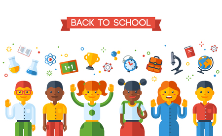 schooler: Back To School Education Concept with Schoolers. Vector Illustration. Happy kids and school flat icons. Boys and girls of different nationalities, international students.