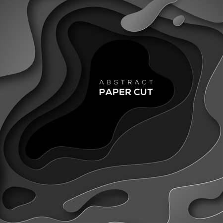 3D abstract background with black paper cut shape