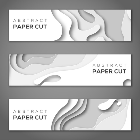 Horizontal banners with white paper cut.