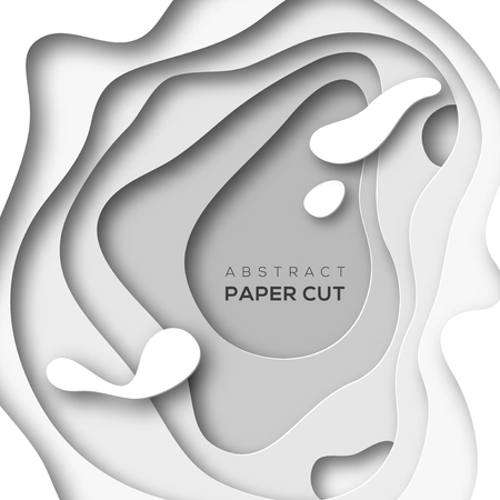 White paper cut shapes. Illustration
