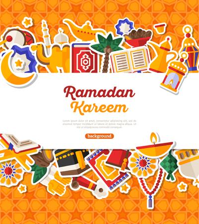 Ramadan Kareem Banner With Horizontal Frame. Illustration
