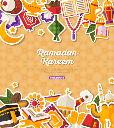 Ramadan Kareem Banner With Flat Stickers. Illustration