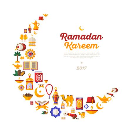Ramadan Kareem moon with flat arabic icons.