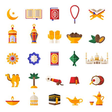 Set of Ramadan Kareem Icons Isolated on White. Illustration