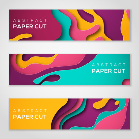 Horizontal banners with abstract paper cut shapes 向量圖像