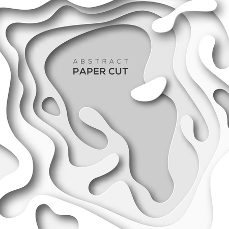 Abstract background with white paper cut shapes