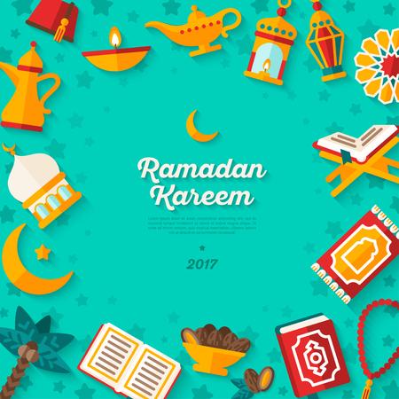 Ramadan Kareem concept banner on blue