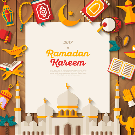Ramadan Kareem concept banner on wood Illustration