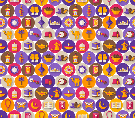 Seamless pattern with arabic icons in circles Illustration