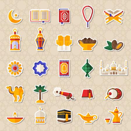 Juego de los iconos de Ramadan Kareem Pegatinas Foto de archivo - 78165549