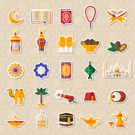 Set of Ramadan Kareem Icons Stickers