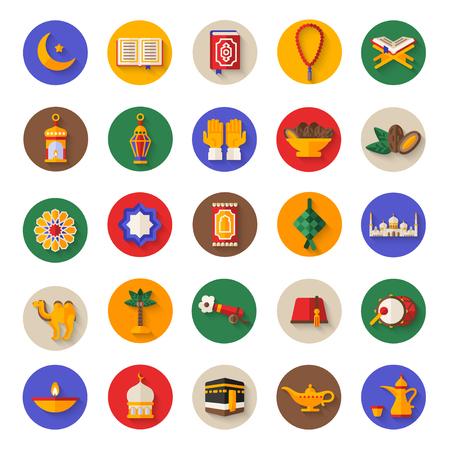 Set van Ramadan Kareem iconen op cirkels Stock Illustratie