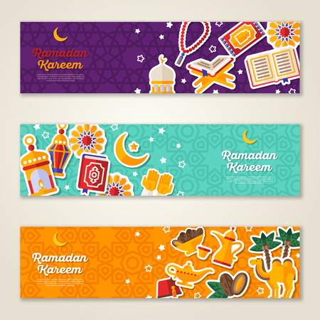 Ramadan Kareem concept horizontal banners Ilustrace