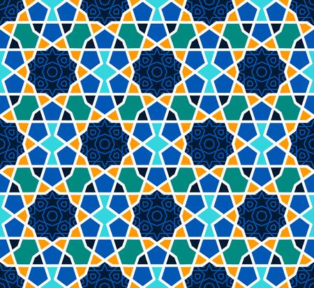 블루에 별과 아라베스크 원활한 패턴 일러스트