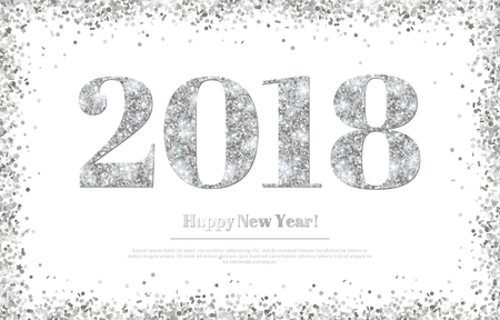 Happy New Year 2018 Silver Numbers Illustration